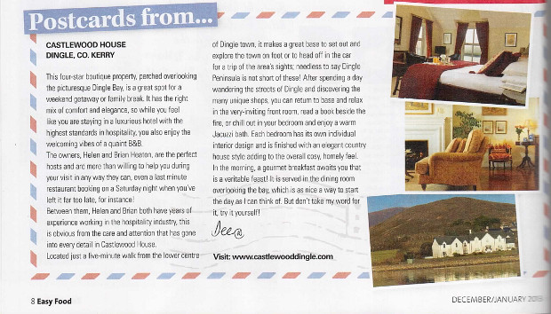 , Castlewood House featured in Easy Food magazine