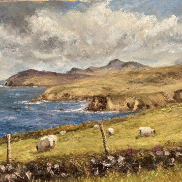 Grazing Sheep Dunquin by Irene Woods Print